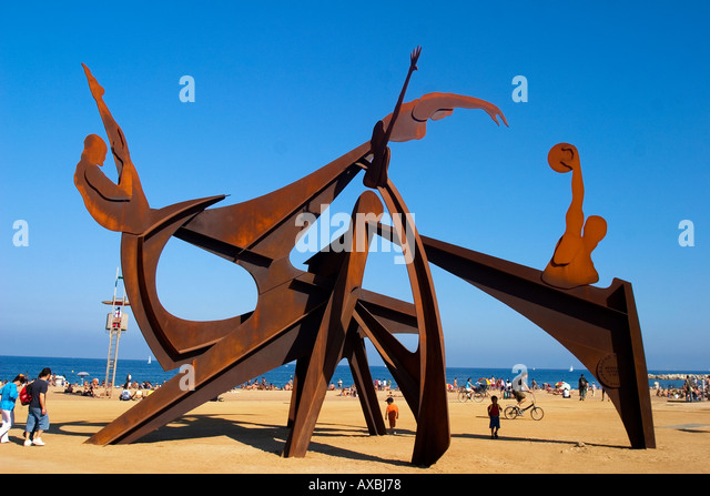 ESP Spanien Barcelona Barceloneta beach Sculpture - Stock Image
