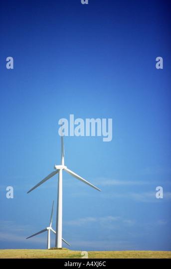 Wind turbines on hillside - Stock Image