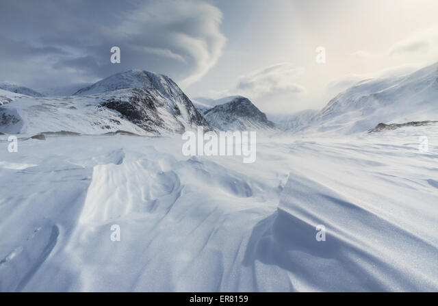 Winds blowing over the snow in Arctic Sweden. - Stock Image