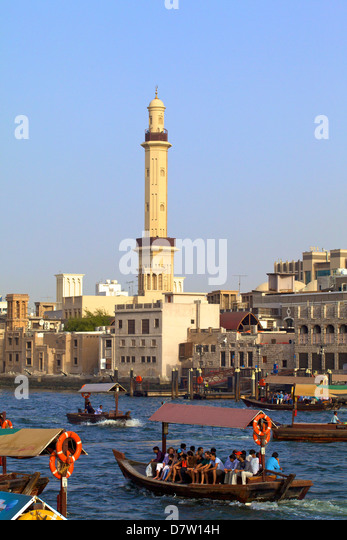 Ferries on Dubai Creek, Dubai, United Arab Emirates, - Stock Image