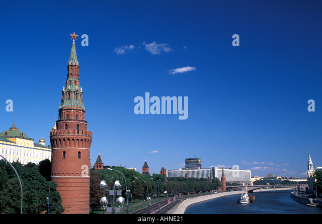 Moscow Russia Kremlin Tower Moscow River  cityscape scenic landscape popular tourist attraction - Stock Image