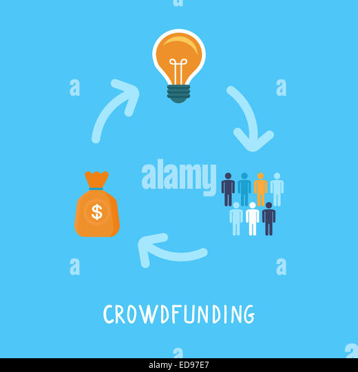 Crowdfunding concept in flat style - new business model - funding project by raising monetary contributions from - Stock-Bilder