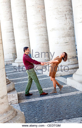 Couple in love at Saint Peter's square - Stock Image