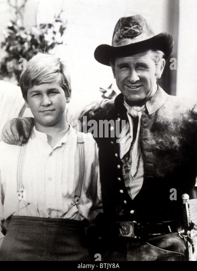 JEFF BRIDGES, age 12, with father LLOYD BRIDGES, in Western regalia for an appearance on THE LLOYD BRIDGES SHOW, - Stock Image