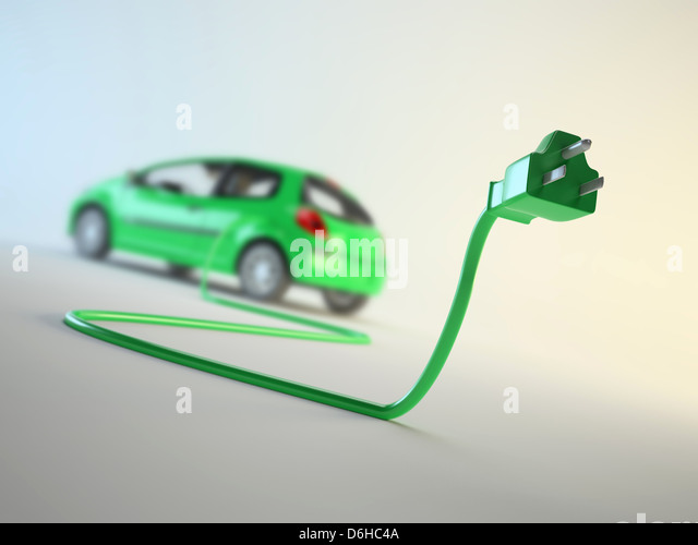 Electric car, artwork - Stock Image