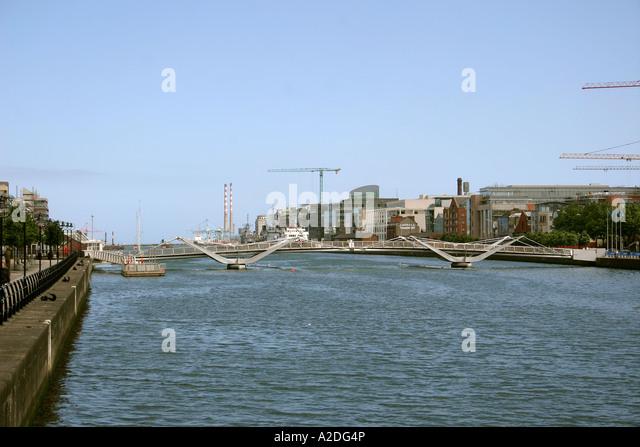 Sir Sean O'Casey bridge river Liffey Dublin Ireland - Stock Image