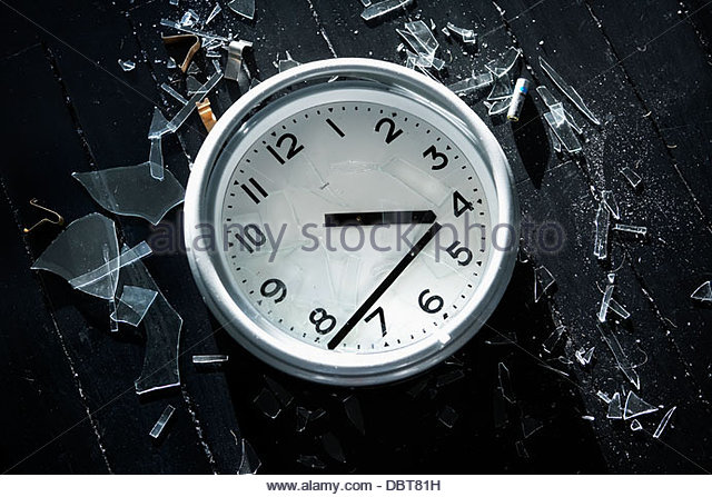Close-up of broken clock - Stock Image