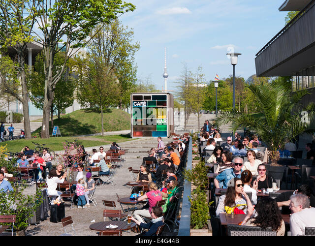 A cafe bar restaurant outside The House of Worlds Cultures in Berlin Germany - Stock-Bilder