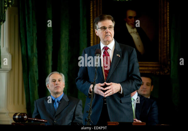 Sen. Dan Patrick of Houston speaks in the Texas Senate where he will take over as Lt. Governor of Texas on January - Stock Image