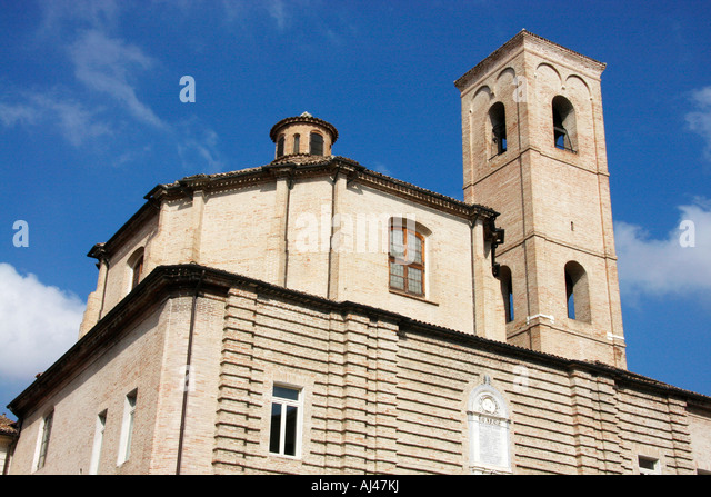 The bell tower in the historic medieval city of Jesi,Le Marche Italy - Stock Image