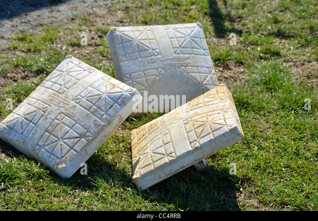 bases ready to be put down for a baseball game - Stock Image