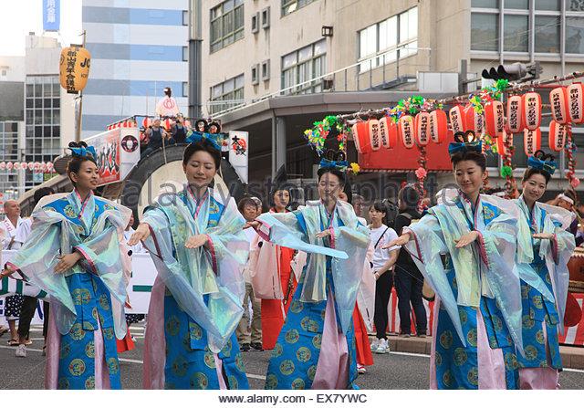Japan, Tohoku Region, Fukushima Prefecture, Koriyama, Women Performing Koriyama Uneme Matsuri Festival. - Stock Image