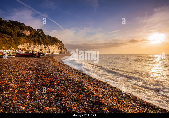 A view along the coastline at Beer in Devon. - Stock-Bilder