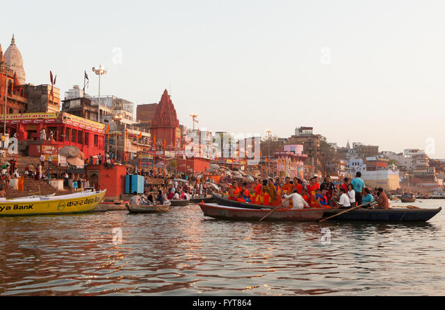 Hinduism and Buddhism have similarities in the Ganges culture, hindu and buddhist people live, pray together around - Stock Image