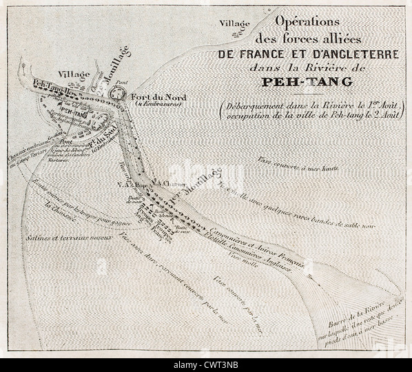 Old military map of French-British allied forces settlement in Beitang, China. - Stock Image