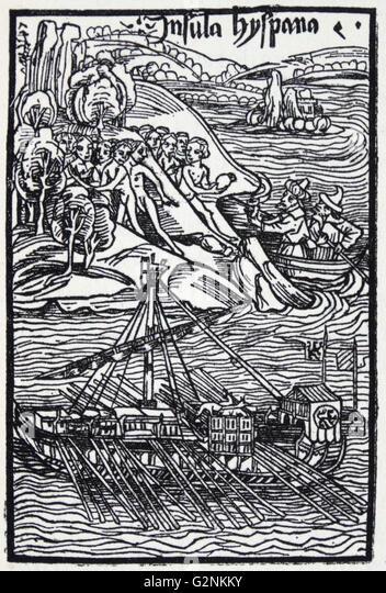Columbus landing on Hispaniola. - Stock-Bilder