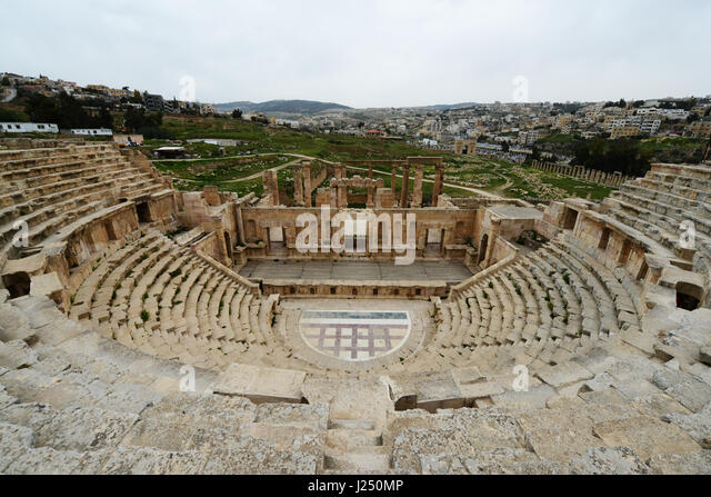 The northern theater in the ancient Roman city of Jerash in Jordan. - Stock Image