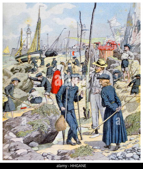 French Illustration showing children at the coast during school holidays. 1903 - Stock Image