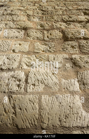 Limestone wall texture - France. - Stock Image