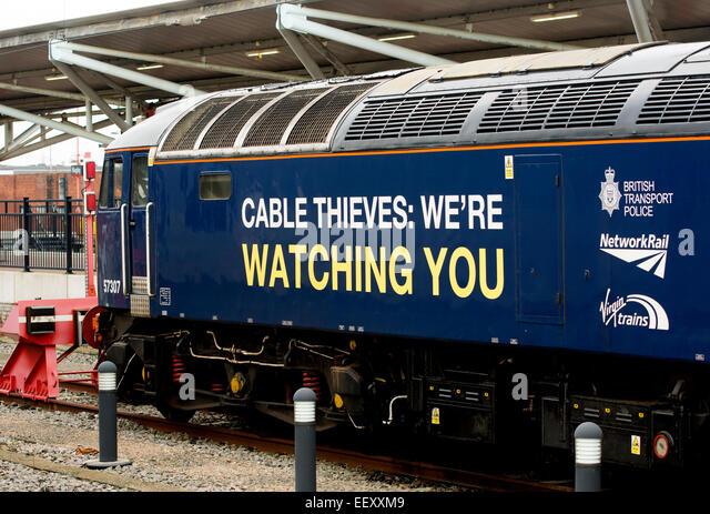 Direct Rail Services class 57 diesel 'Cable thieves we`re watching you' liveried locomotive. - Stock Image