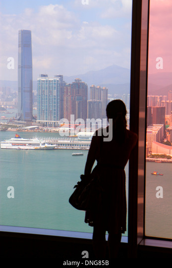 Hong Kong China Island Wan Chai Central Plaza high rise skyscraper buildings city skyline Victoria Harbour West - Stock Image