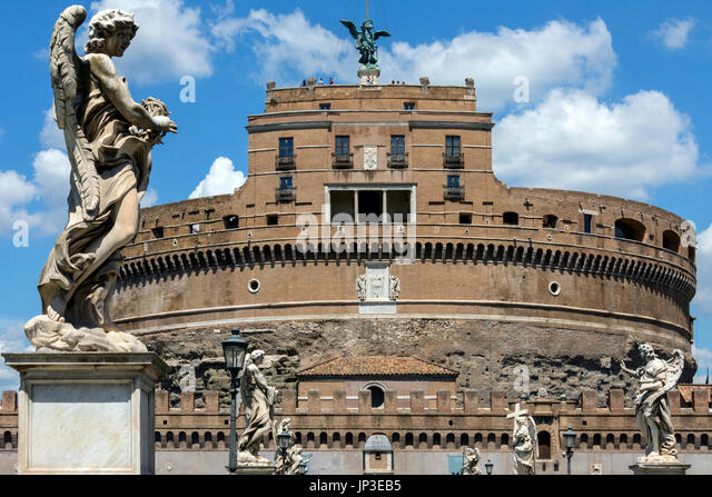 The Mausoleum of Hadrian, usually known as Castel Sant Angelo in the city of Rome, Italy. Built by the Roman Emperor - Stock Image