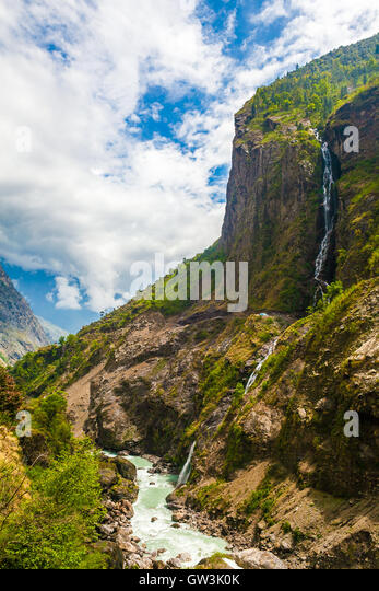 Landscape Mountains Hiking Himalayas.Beautiful View Waterfalls End Summer Season Background.Green Threes Cloudy - Stock Image