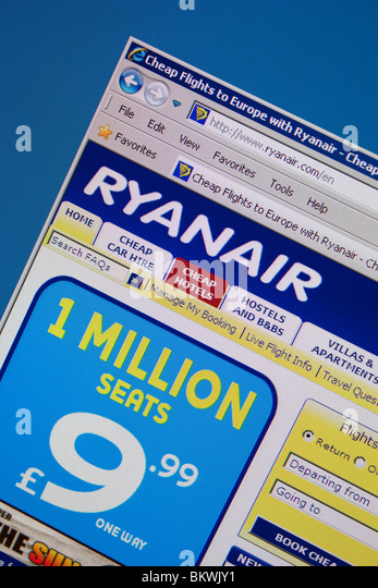 Ryanair budget cheap travel flight air hotel - Stock Image