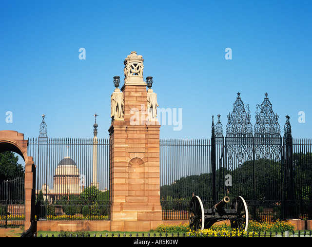 Gate of presidential palace delhi - Stock Image