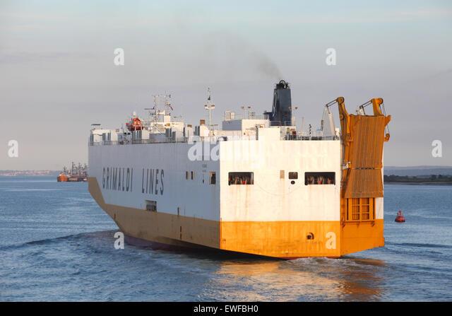 Grimaldi Lines car transporter ship Grande Colonia pictured leaving Southampton Docks - Stock Image