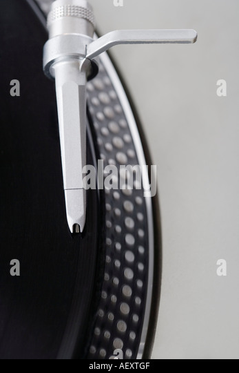 Closeup of a turntable and record - Stock Image