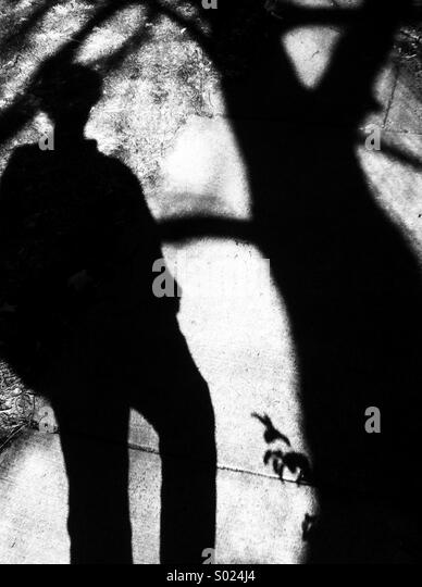 Shadow on person and tree, abstract - Stock Image