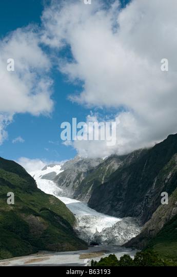 The Franz Josef glacier, South Island, New Zealand - Stock Image