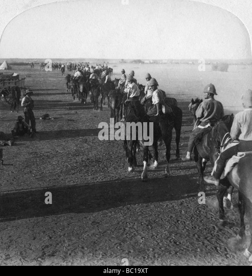 The 38th Battery at the Modder before taking part in Roberts' advance, South Africa, Boer War, 1900. - Stock Image