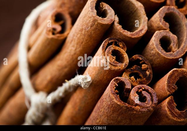 Close-up of aromatic cinnamon sticks for Christmas - Stock Image
