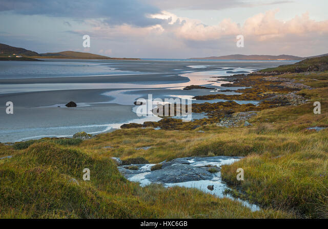 Tranquil scene beach and ocean, Luskentyre, Harris, Outer Hebrides - Stock Image