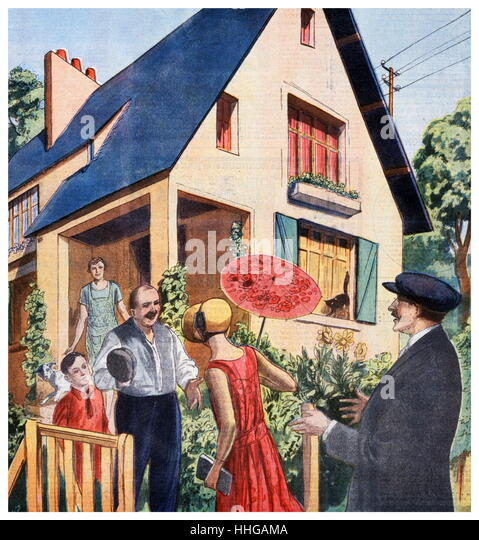 Illustration showing prospective buyers visiting a house after the introduction of the Loucheur law of 13 July 1928. - Stock Image