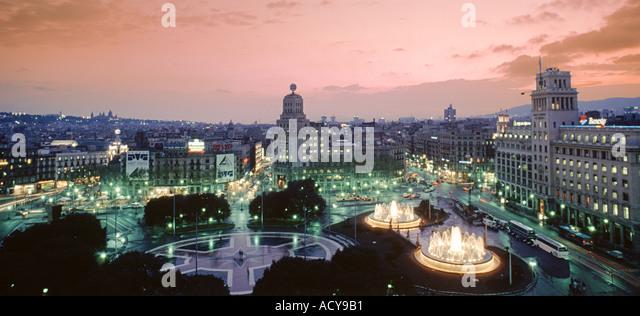 ESP Spanien Barcelona Plaza de Catalunya sunset - Stock Image