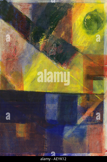 Acrylic color on canvas abstract Artist Arun K Mishra Dinodia - Stock Image