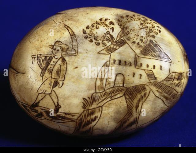 fine arts, folk art, carved drawing, farmer with scythe, horn, rural snuff box, 19th century, - Stock Image