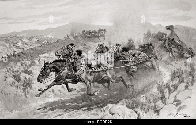The disaster at Koornspruit, South Africa, 30th March 1900. Driverless teams stampeding during the second Boer War. - Stock-Bilder