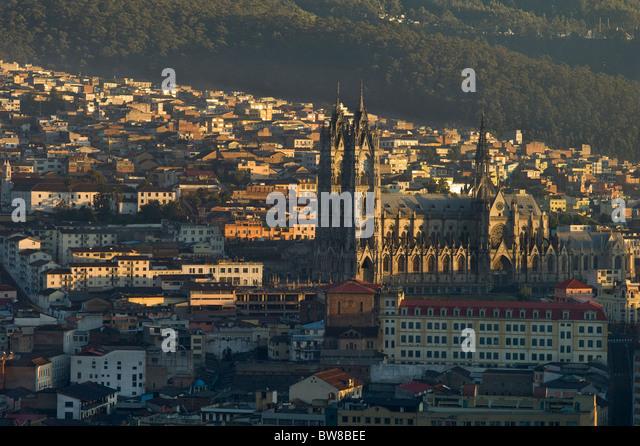 Basilica at sunrise, Quito, Ecuador - Stock Image
