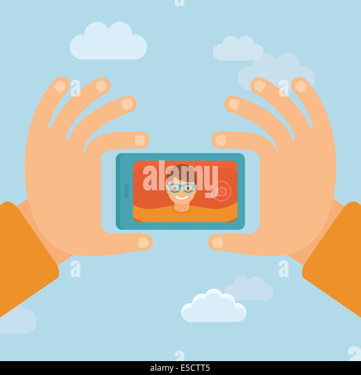 Smiling man - flat character taking selfie by mobile phone - new technology concept - Stock-Bilder