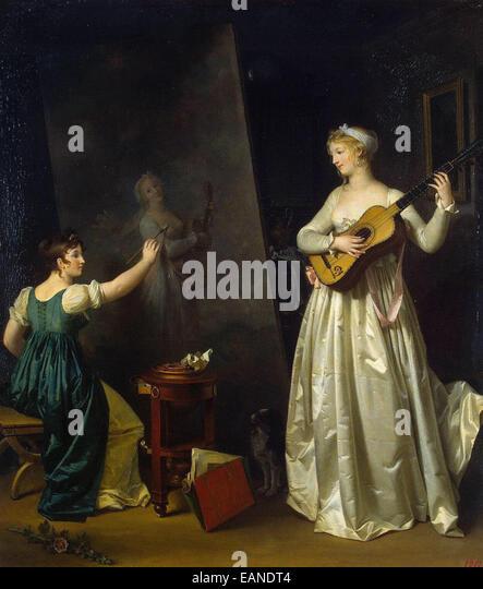 Marguerite Gerard  Artist Painting a Portrait of a Musician - Stock-Bilder