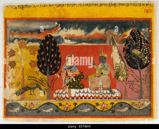 Radha & Krishna Gita Govinda folio 3 Mewar Circle c. 1550. National Museum of New Delhi India ref. # 56.146/1 - Stock Image