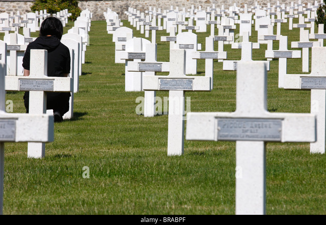 Prieure Binson military graveyard, Catillon-sur-Marne, Marne, France, Europe - Stock Image