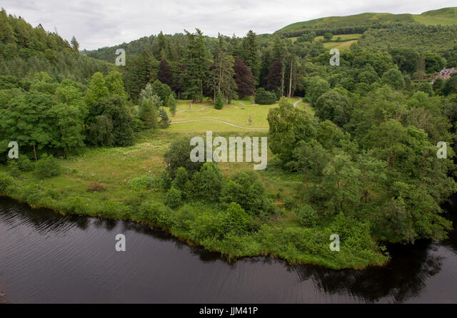 The view from the Lake Vyrnwy Dam & RSPB Nature Reserve in the Berwyn Mountains, Wales, UK - Stock Image