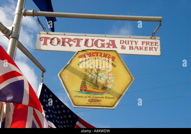 Grand Cayman George Town Tortuga Rum Cake sign - Stock Image