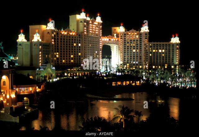 Bahamas Paradise Island Atlantis Towers Resort at night - Stock Image