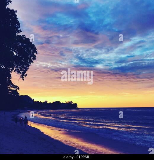 Seychelles sunset beach - Stock Image